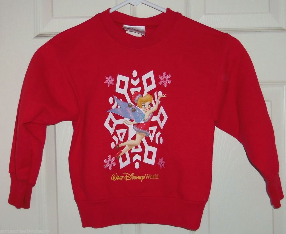 Walt Disney World Kids Tinker Bell Sweatshirt Red Santa Christmas Size XS 4-5