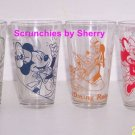 4 Disney Drinking Glasses Mickey Donald Goofy Minnie Working Food Service New