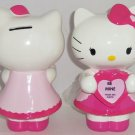 Hello Kitty Valentines Picture Frame Coin Money Bank Ceramic Pink Dress Bow New