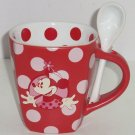 Disney Minnie Mouse Coffee Mug Spoon Cup Polka Dot Red Theme Parks New