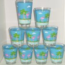 9 Pink Flamingo Blue Acrylic Glasses Barware Drinking Florida Outdoor Dining