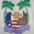Hard Rock Cafe T-Shirt San Juan 1990s White Tee Guitar Palm Trees City Boat L