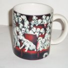Disney 101 Dalmatians Coffee Mug Cup Spotted Dogs Puppies Red Black Retired