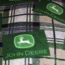 John Deere Fleece Blanket Tan Forest Green Plaid Hand Tied Baby Pet Lap Dog