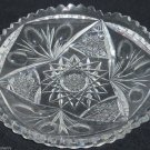 American Briliant Cut Glass Nappy Dish Candy Vintage ABP Star Leaves Libbey
