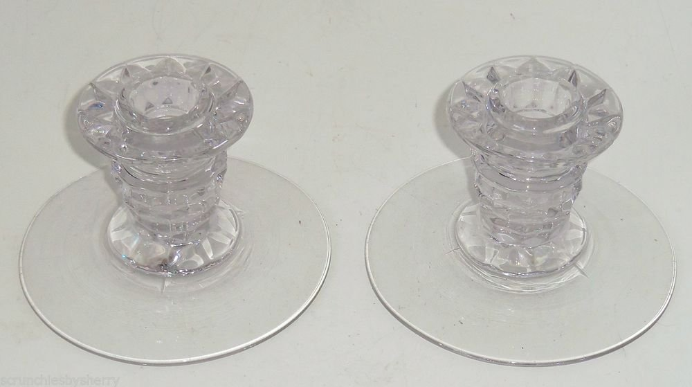 2 Fostoria American Candle Holder Stick Low Crystal Clear Glass  Vintage