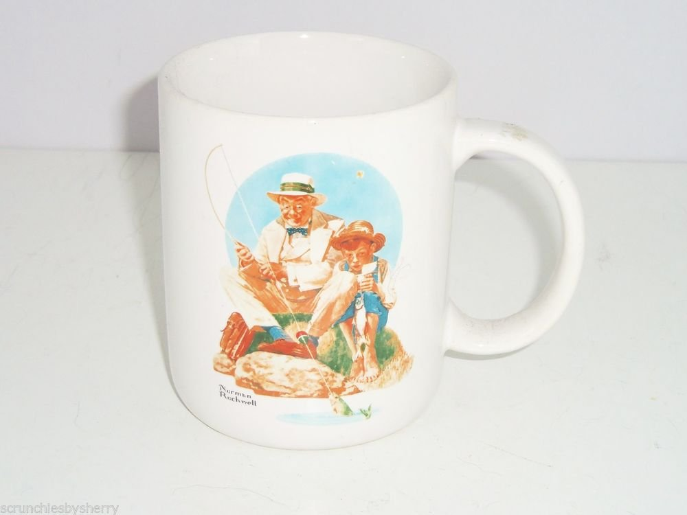 Norman Rockwell Catching the Big One Fishing Mug Coffee Cup White Fish