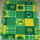 John Deere Tractors Green Yellow Patch Hand Tied Fleece Baby Pet Lap Blanket