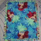 Disney Ariel Mermaid Blanket Green Blue Hand Tied Fleece Baby Pet Lap Princess