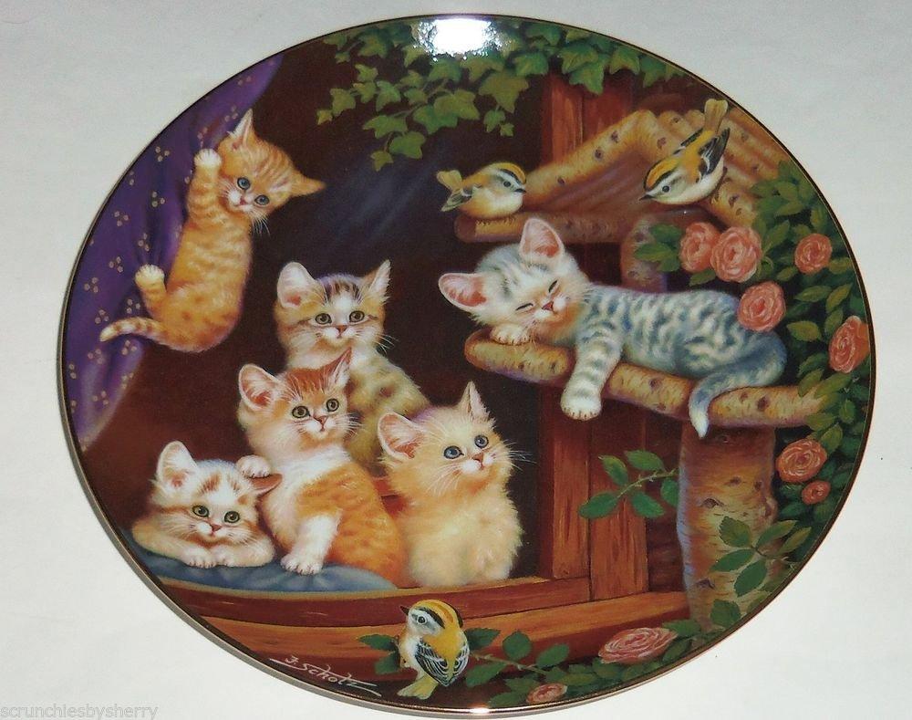 Cat Kitty Collector Plate Kitten Capers Frisky Felines Jurgen Scholz Bradford Ex