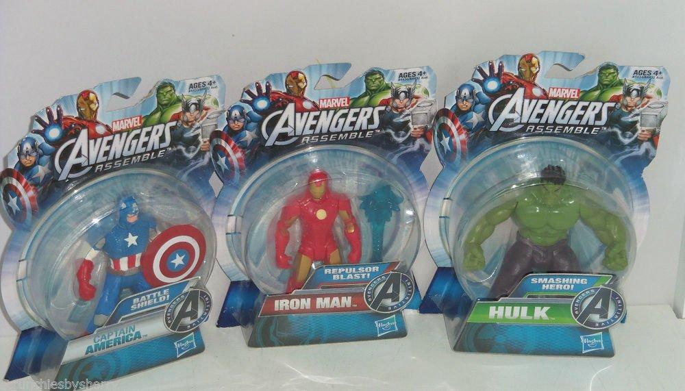 3 Disney Marvel Avengers Captain America Hulk Iron Man Action Figure NIP