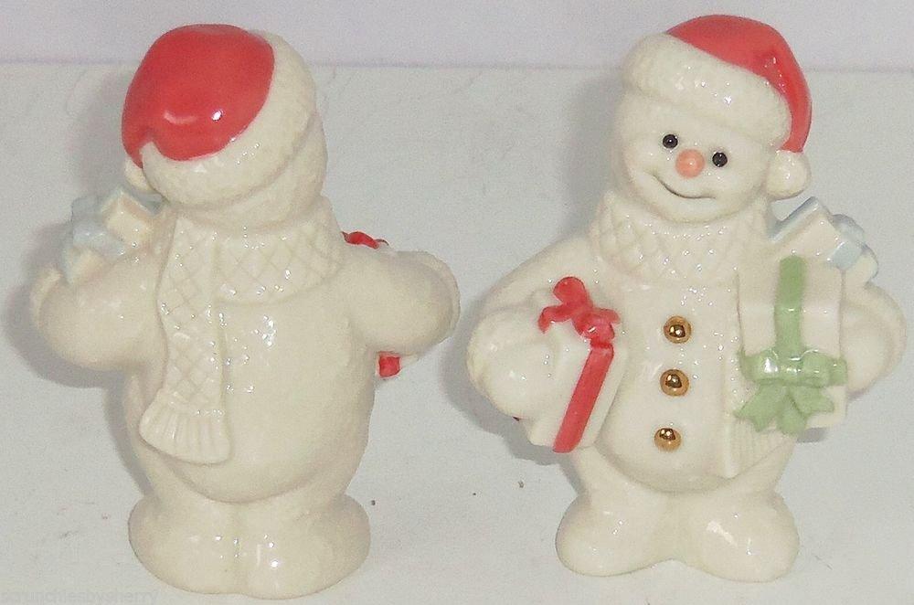 Lenox Starlight Snowman Figurine Santa Hat Presents 24K Gold Buttons  Retired