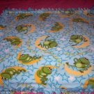 Frog Moon Stars Fleece Blanket Baby Pet Lap Hand Tied Green Blue
