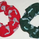 Hershey Candy Glitter Kisses Red Green Fabric Hair Scrunchies by Sherry Lot of 2