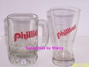 2 Philadelphia Philles Drinking Glass Beer Mug MLB Baseball Great Gift