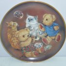 Teddy Bear Kitty Bubble Buddies Sue Willis Collector Plate Franklin Mint Retired