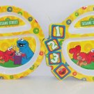 2 Elmo Cookie Monster Kids Dinner Plate Melmac Sesame Street 123 Plates