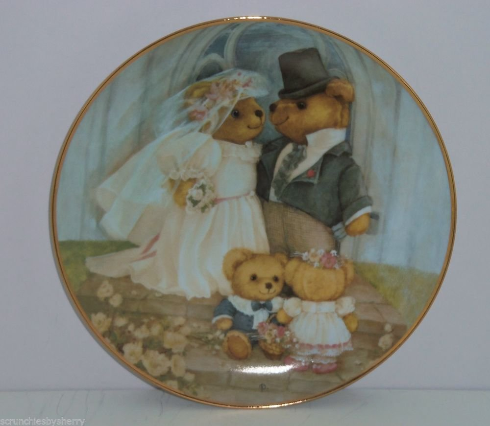 Teddy Bear Just Married Collector Plate Franklin Mint COA Museum Patricia Brooks