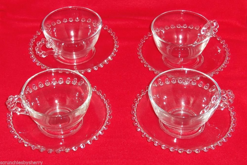 4 Imperial Candlewick Pattern Coffee Cup Saucer Clear Glass 8 Pieces Vintage