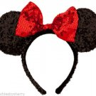 Disney Minnie Mouse Ears  Headband  Black Red Sequins Bow Theme Parks New