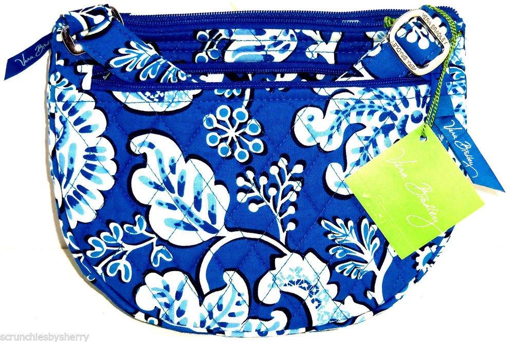 Vera Bradley Lizzy Blue Lagoon Purse Crossbody Shoulder Bag White New