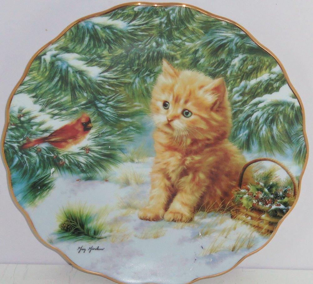 Kitten Collector Plate Bird Holly Pine Tree Smitten Tabby Cat Bradford Exchange