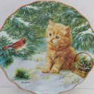 Kitten Collector Plate Bird Holly Pine Tree Smitten Tabby Cat Bradford Exchange