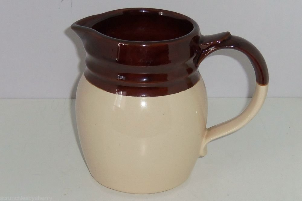 McCoy Pitcher Brown Tan Cream Vintage 1272 USA Mint Pottery Great Gift Collector
