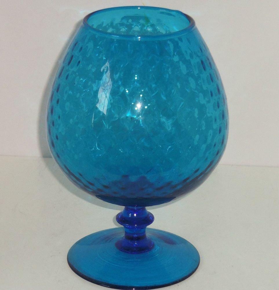 Blue Rose Bowl Footed Stem Vase Globe Optic Dots Art Glass Vintage