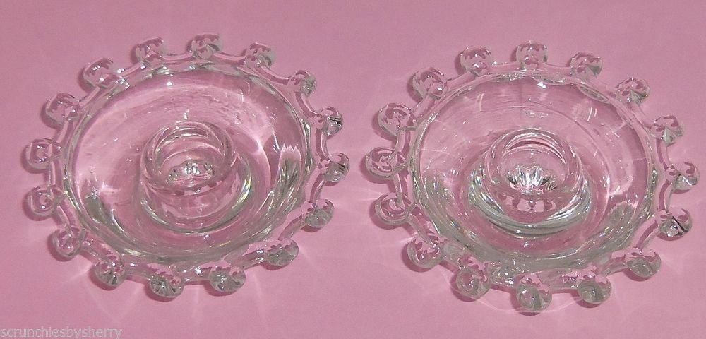 2  Heisey Lariat Candleholder Clear Glass Vintage Candles Holders