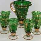 Bohemian Emerald Green Gold Pitcher 6 Glasses Tea Cocktail Vintage Mid Century