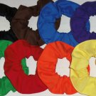 8 Hair Scrunchies Primary Color Red Blue Green Yellow Orange Purple Brown Black