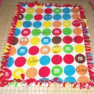 M&M's Blanket Fleece Candy Blue Red Yellow Green White Baby Pet Lap M&M