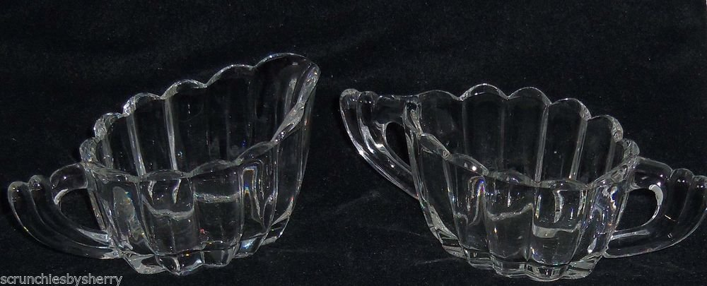 Heisey Cream Pitcher Sugar Bowl Glass Clear Crystolite Vintage 1930 1950