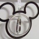 Disney World Mickey Mouse Ornament Silver Spinning Sparkle Christmas Holiday