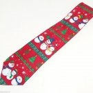 Snowman Dancing Christmas Mens Neck Tie Necktie Red Trees Candy Canes