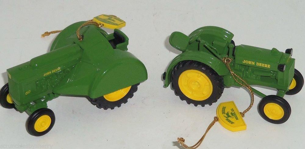2 John Deere Ornaments Model BO 60 Tractors Christmas Tree Danbury Mint Retired