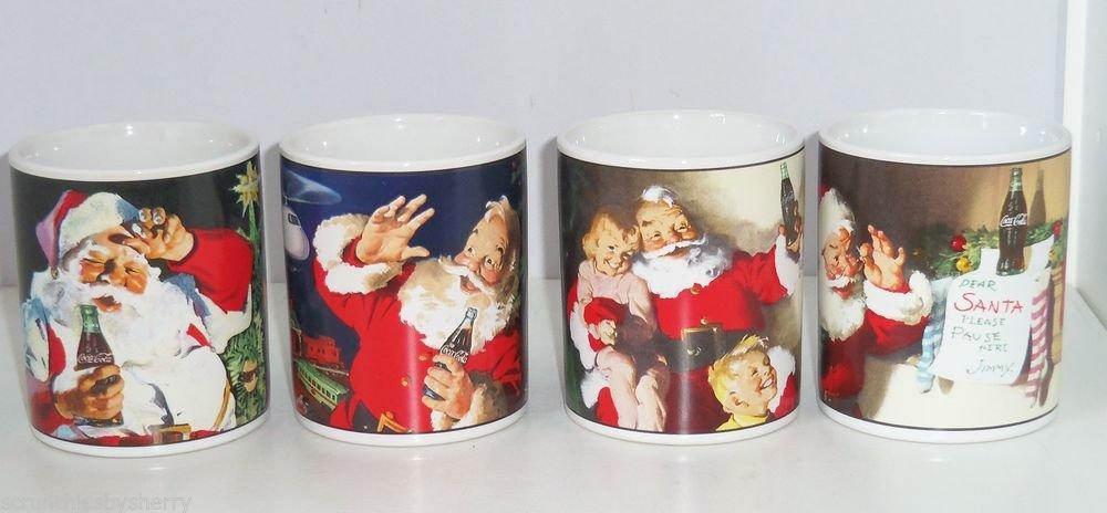 Coke Coca Cola Christmas Santa Claus Holiday Portaits Coffee Mug Stoneware Lot of 4