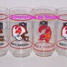 6 Tampa Bay Buccaneers Glasses Glass Mobil Collector Drink Old Logo Vintage Gift