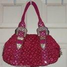 Charm Luck Pink Genuine Textured Leather Handbag Rhinestone Embellished Satchel
