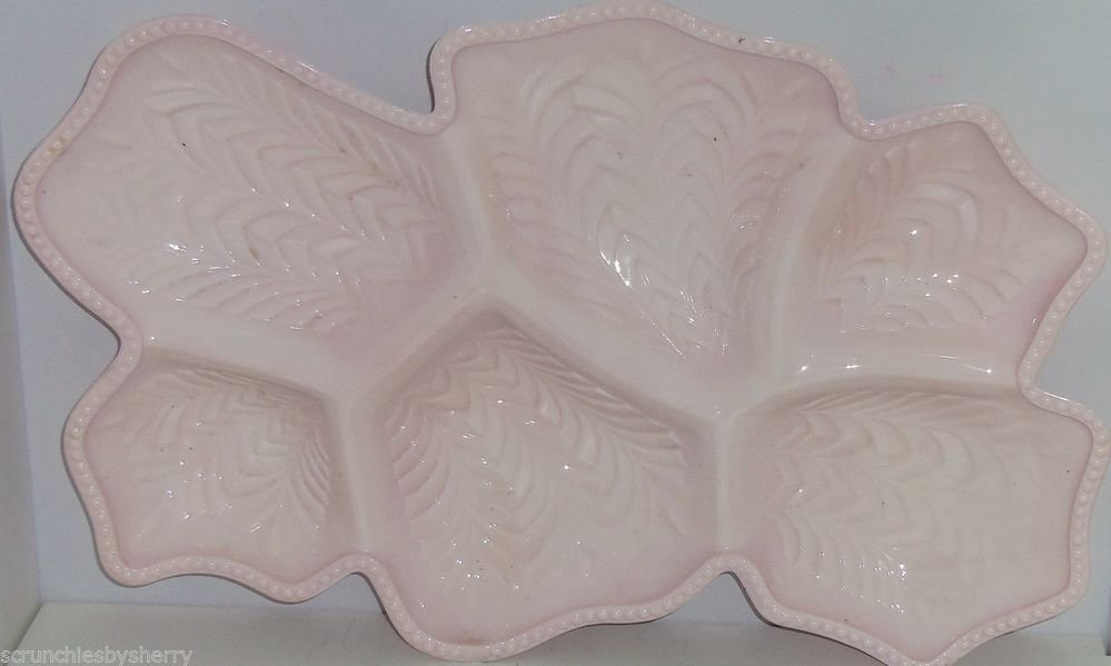Pink Milk Glass Tray Jeanette Shell Relish Candy Nut Tray Platter Vintage 1950s