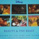 6 Disney Beauty Beast Fine Art Lithographs Princess Belle Mrs Potts Clogworth