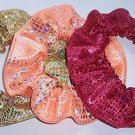 Metallic Foil Fabric Hair Scrunchie Red Gold or Orange