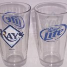 2 Tampa Bay Rays Glasses Miller Lite Baseball Drinking Beer Glass 2011 MLP