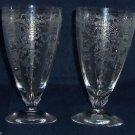 "2 Fostoria Etched Glass June Clear Ice Tea Glasses 6""  Stem Vintage"