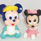 2 Walt Disney Baby Minnie & Mickey Mouse Squeaky Toys Vintage 1984