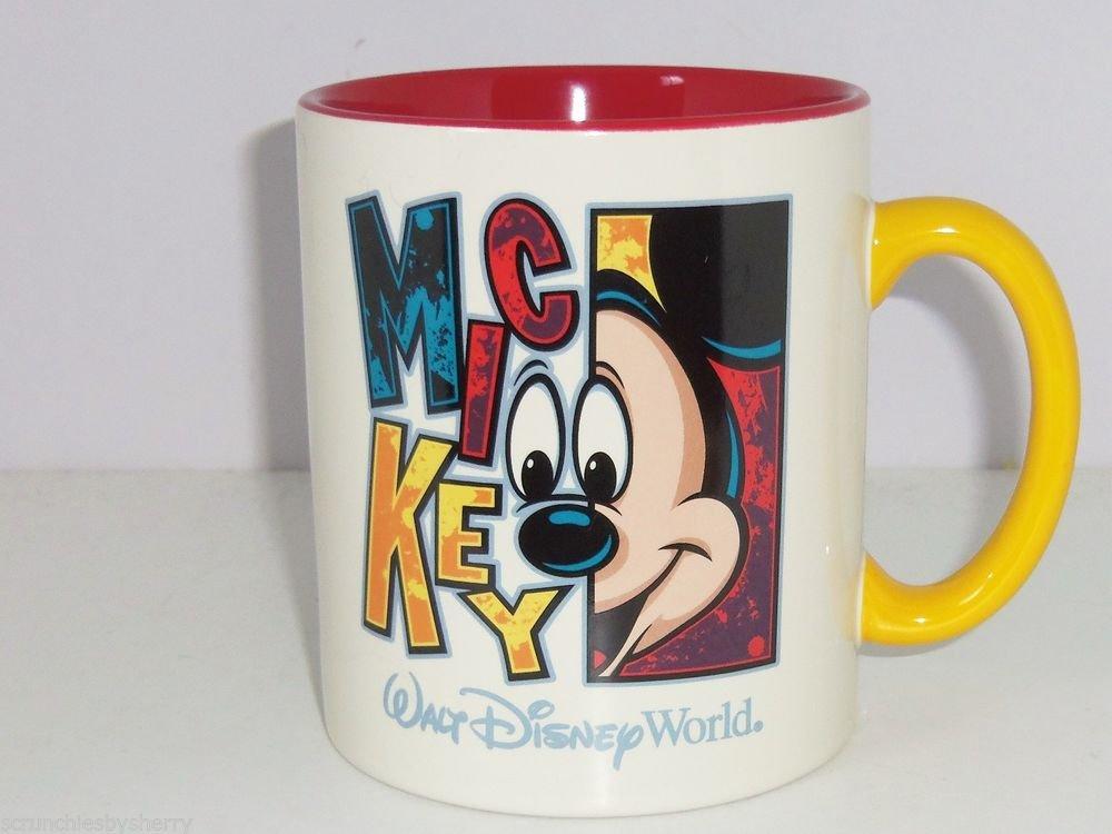 Walt Disney World Mickey Mouse Coffee Mug Giant Red Yellow Ceramic Cup Retired