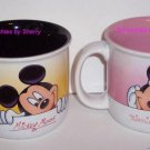 2 Disney World Mickey Minnie Mouse Tea Coffee Mugs Pink Black Mug Retired