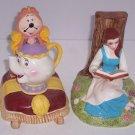Disney Japan Beauty Beast Book Ends Rare Belle Mrs Potts Ceramic Retired Vintage