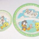 Baby Bugs Bunny Tweety Bird Kids Dinner Plate Bowl Melmac Looney Tunes